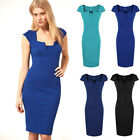 Women's Stylish Bodycon Rockabilly Tunic Pencil Midi Cocktail Ball Party Dresses