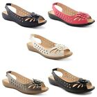 New Ladies Flat Low Heel Flower Bow Peep Toe Slingback Slip On Sandals Size 3-8