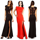 Rockabilly Vintage Sexy Womens Slim Long Maxi lace Party Dress Slit Evening Gown