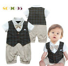 Baby Boy Clothes Summer Short Sleeve Plaid Romper Jumper Outfits Bobysuit