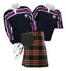 8yd Kilt Outfit 'Sports Essential' - Purple Stripe Rugby Top - Stewart Black