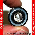Neodymium Magnets 2-100x Ring Shape 20x7 mm With Dip Drill Hole Pot Magnet