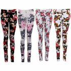 Women's Multicoloured Flower Floral Skinny Fit Party Ladies Trousers Jeans