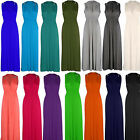Womens Ladies New Sleeveless Spring Coil Long Maxi Dress (Sizes 8 - 14)