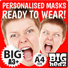 PERSONALISED PHOTO FACE MASKS CUSTOM MADE BIG A3/A4 SIZE STAG DO HEN NIGHT PARTY