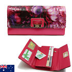 Pattern Genuine Leather Ladies Womens Tri-Fold Wallet Purse Zip Coins Floral
