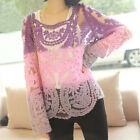 Korea Summer Women Lace Tops Transparent Hollow Out Full Sleeve Pullover Blouses