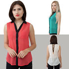 Sleeveless button down with black accents v back, Solid, Casua,l Junior S, M, L