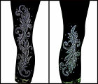 Plus Capri Leggings Embellished Crystal Rhinestone & Stud Shiny Silver Leaves