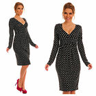 Glamour Empire Women's Long Sleeve V Neck Polka Dots Pleated Midi Dress 144