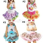 2pcs Baby Girls Birthday Top T Shirt Tutu Dress Skirt Pettiskirt Party Outfits