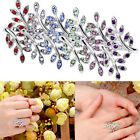 NEW HOT Fashion Luxury Silver Plated Crystal Long Branch Leaves Wrap Rings Gift