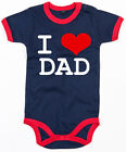 I LOVE DAD Ringer Baby Body navy/red