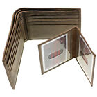 Men Bifold Wallet Genuine Leather Removable ID Cover 10 Credit Cards Cowhide New