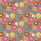 DAZZLED-POPPIN BLOSSUMS - MULTI ON BEIGE (grey)- ADORNIT 100% COTTON FABRIC