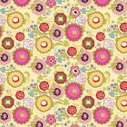 DAZZLED-POPPIN BLOSSUMS - MULTI ON YELLOW - ADORNIT 100% COTTON FABRIC