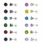 Sterling Silver Men's or Women's Round CZ Cubic Zirconia Stud Earrings