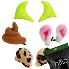 BMC Mixed Color Velvet Cosplay Costume Animal Ears Hair Clip Ons - 4 Pair Sets