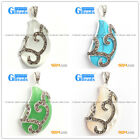 Fashion New 21x41mm bead marcasite silver pendant FREE gift box + necklace chain