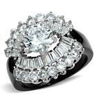 Round cz Black Stainless Steel Engagement Cocktail Cluster wide band Ring