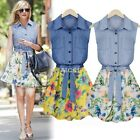 Women Floral Print Chiffon Sleeveless Cocktail Evening Party Mini Dress Skater Y