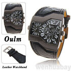 OULM Military Army Two Time Zones Movements Sports Leather Watch Boys Mens