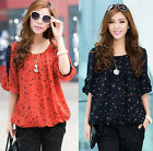 Korean Fashion Loose Plus Size Half Sleeve Chiffon Polka Dot Womens Blouse Tops