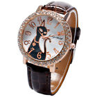 Round Dial Lovely Cat Crystal Quartz Wrist Watch Leather Band Women Girl Gifts