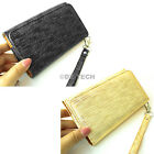 For HTC One M7 2013 Silk Design PU Wallet Leather Case Pouch w/Strap Accessory