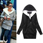 New Women 2Colors Warm Coats Hoodies Hooded Thumbhole Fleece Zip-Up Jackets Tops