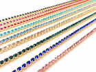 1 Metre Diamante/Rhinestone Crystal Colour Chain For Cakes Gold Base A++ Quality