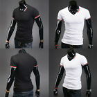 Mens Stylish Short Sleeve V-Neck Casual Slim Fit T-shirt POLO Dress Shirt Tops