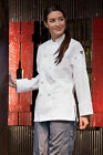 Sedona Womens knot long sleeve chef coat, White or Black, sizes XS-2XL, 490 0490