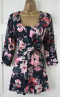 M&S Per Una Navy Blue Pink Green Floral Blouse Tunic Top Marks & Spencer