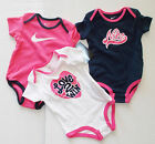 Nike Infant Girls Set of 3 Bodysuits Pink Blue White Size 6-9 Months NWT
