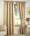 Damask Jacquard Pencil Pleat Luxury Curtains - Cream Beige + Laura Ashley Hooks