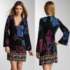 Hale Bob Dress Silk Jersey Long Bell Shanghai Nights Size XS-S NWT Black Print