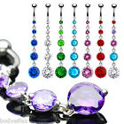 SEXY 316L SURGICAL STEEL ALLURE DANGLE NAVEL BELLY RING 5 ROUND CZ BODY JEWELRY