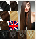 UK Delivery Full Head Set  Real Clip in Remy 100% Human Hair Extension 9 Colors