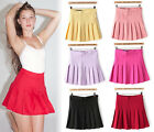 Candy Colorful Pleated Frill High Waist Tennis Skater A-line Flare Mini Skirt C