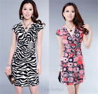 Women New Fashion Sexy V-neck Short Sleeve Slim Casual Party Cocktail Mini Dress