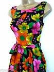 NEW RETRO 50'S TEA DRESS BLACK PINK ORANGE FLORAL SWING ROCKABILLY SIZE 6 - 12