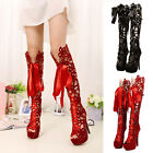 Ladies Hollow Lace Up Peep Toe Platform Stiletto Pumps High Heels Sandals Boots