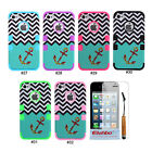 Unique Anchor 3 in 1 Hybrid PC Silicone Back Case Cover Skin For iPhone 4 4G 4S