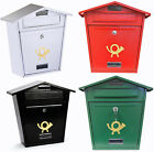POST BOX LETTERBOX MAIL WALL BLACK/GREEN/RED/WHITE STEEL PLATE LOCKABLE OUTDOOR