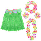 5 PC HULA SET LEI WRISTBANDS HEADBAND + GREEN HAWAIIAN GRASS SKIRT FANCY DRESS