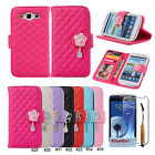 New Rose PU Leather Wallet Stand Flip Case Cover For Samsung Galaxy S3 III i9300