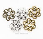 100pcs Large Flower Bead Caps Findings Antique Silver/Gold/Bronze Tone Pick 11mm