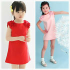 1 pc Hot!  New Arrival Cute pink/red Girl Cotton Flower Shoulder Party Dress