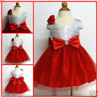 White Reds Christneing Anniversary Party Flower Girls Dresses SZ 2,3,4,5,6,8,10Y